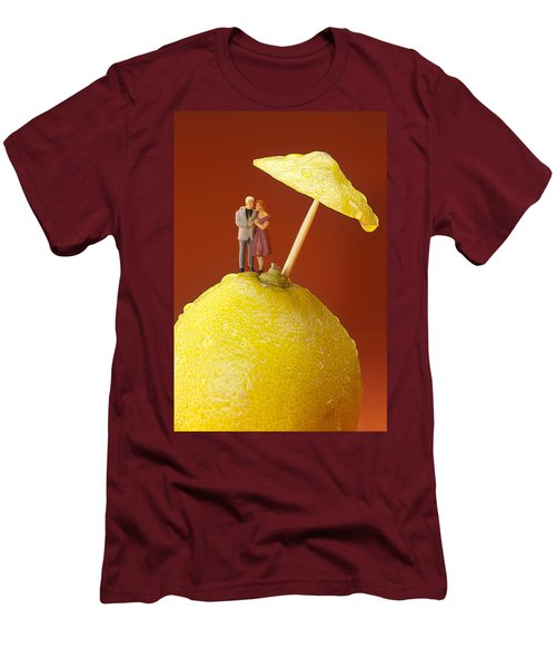 Men's T-Shirt (Slim Fit) featuring the painting A Couple In Lemon Rain Little People On Food by Paul Ge