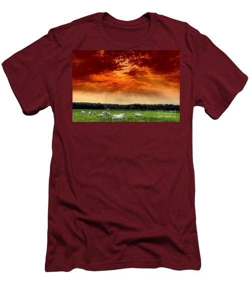 Men's T-Shirt (Slim Fit) featuring the photograph Alberta Canada Cattle Herd Hdr Sky Clouds Forest by Paul Fearn