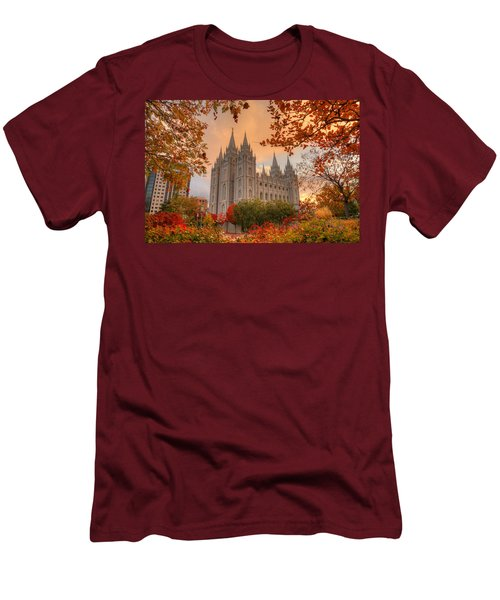 Autumn At Temple Square Men's T-Shirt (Slim Fit) by Dustin  LeFevre