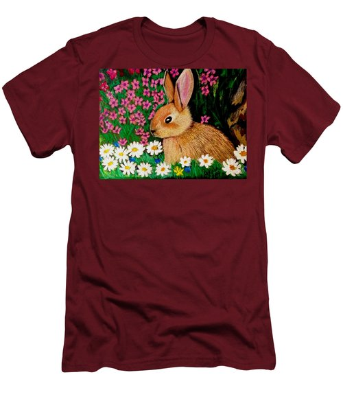 Baby Bunny In The Garden At Night Men's T-Shirt (Athletic Fit)