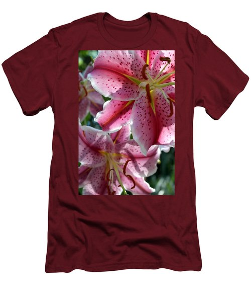 Men's T-Shirt (Athletic Fit) featuring the photograph Backlit Spotted Daylilies by Michele Myers