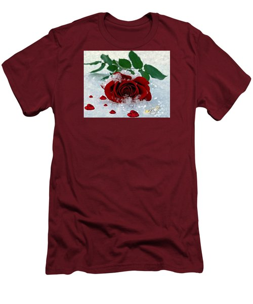Men's T-Shirt (Slim Fit) featuring the mixed media Be Mine by Morag Bates