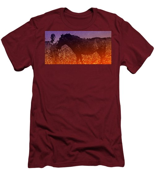 Men's T-Shirt (Slim Fit) featuring the digital art Boy With Horse by Cathy Anderson