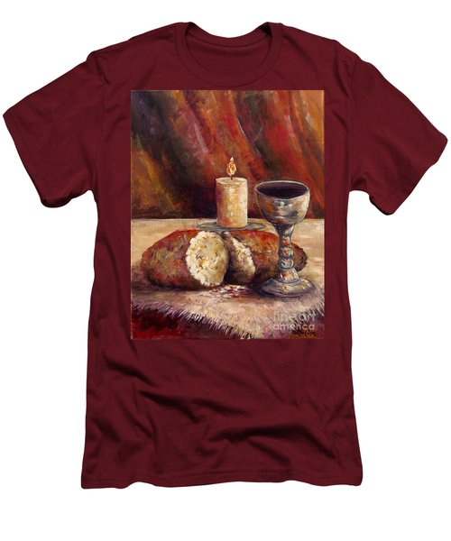 Bread And Wine Men's T-Shirt (Slim Fit) by Lou Ann Bagnall