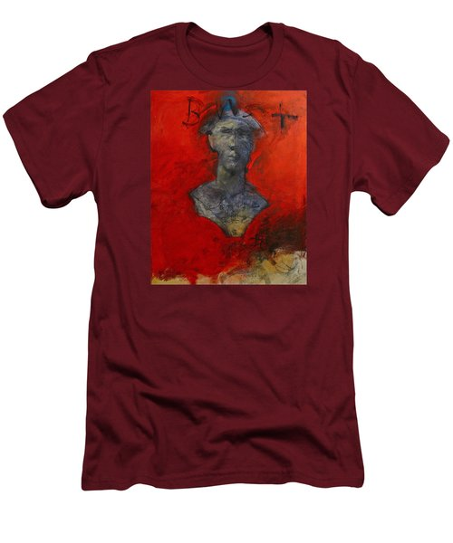 Men's T-Shirt (Slim Fit) featuring the painting Bust Ted - With Sawdust And Tinsel  by Cliff Spohn