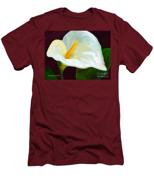 Men's T-Shirt (Slim Fit) featuring the painting Calla Lily Painting by Annie Zeno