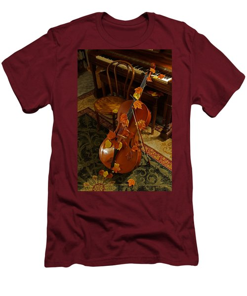 Cello Autumn 1 Men's T-Shirt (Slim Fit) by Mick Anderson