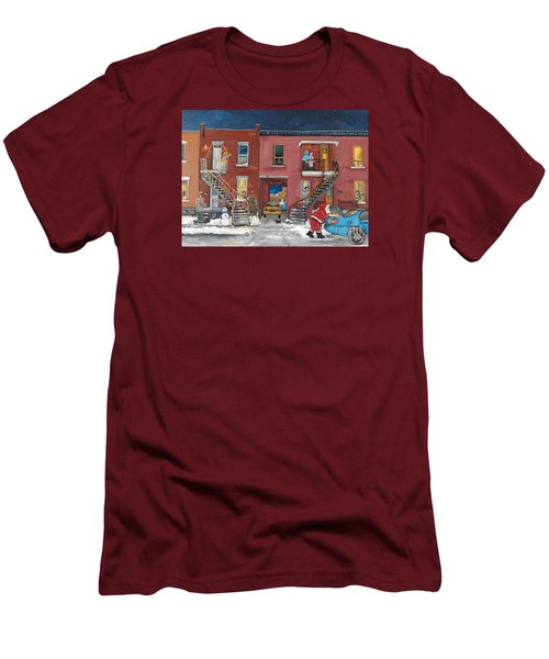 Christmas In The City Men's T-Shirt (Slim Fit) by Reb Frost