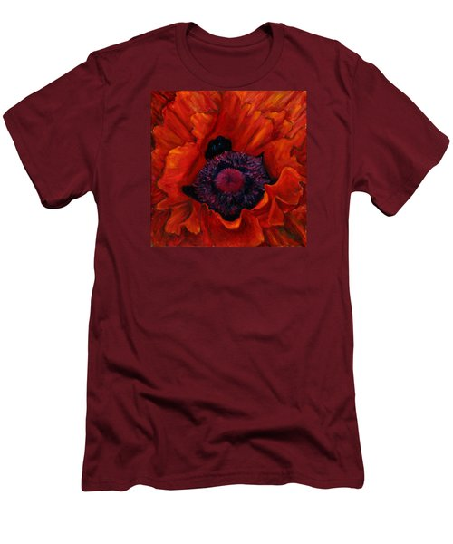 Close Up Poppy Men's T-Shirt (Slim Fit) by Billie Colson