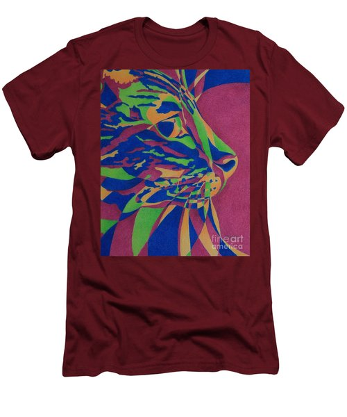 Men's T-Shirt (Slim Fit) featuring the painting Color Cat I by Pamela Clements