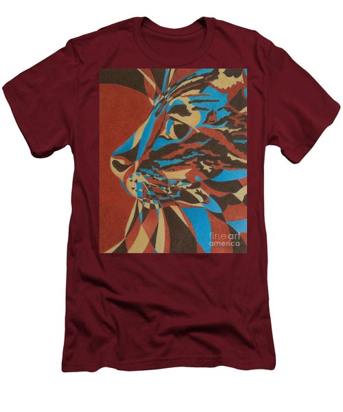 Men's T-Shirt (Slim Fit) featuring the painting Color Cat II by Pamela Clements