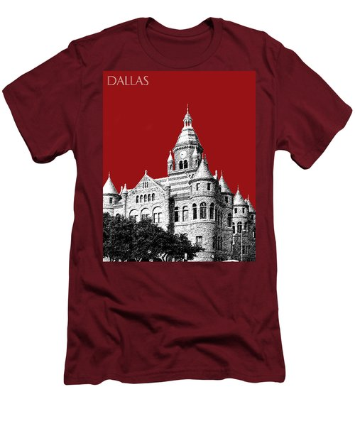 Dallas Skyline Old Red Courthouse - Dark Red Men's T-Shirt (Athletic Fit)