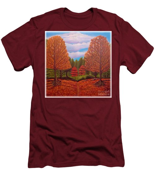 Men's T-Shirt (Slim Fit) featuring the painting Dance Of Autumn Gold With Blue Skies Revised by Kimberlee Baxter