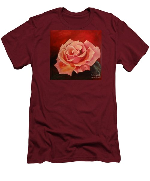 Men's T-Shirt (Slim Fit) featuring the painting Dew Drops On Pink Rose by Jenny Lee