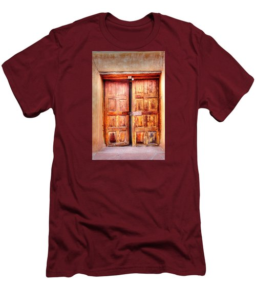 Men's T-Shirt (Slim Fit) featuring the photograph Doors To The Inner Santuario De Chimayo by Lanita Williams