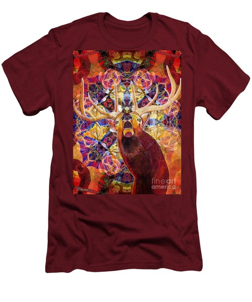 Men's T-Shirt (Slim Fit) featuring the painting Elk Spirits In The Garden by Joseph J Stevens