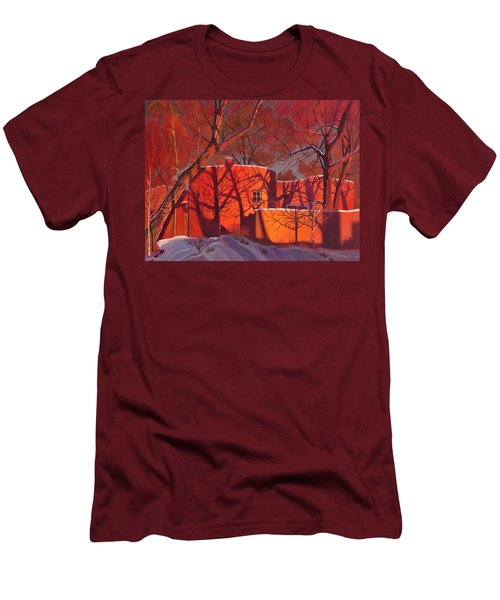 Men's T-Shirt (Slim Fit) featuring the painting Evening Shadows On A Round Taos House by Art James West