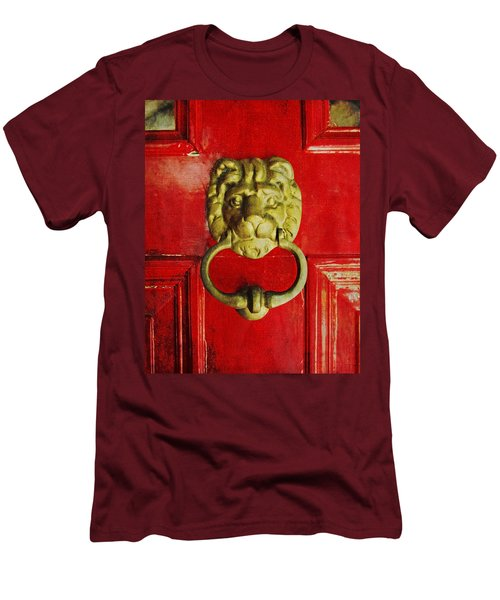 Golden Brass Lion On Red Door Men's T-Shirt (Athletic Fit)