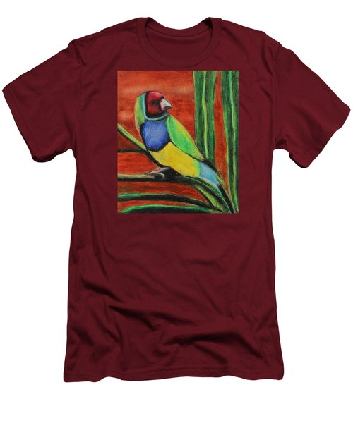 Men's T-Shirt (Slim Fit) featuring the painting Gouldian Finch by Jeanne Fischer