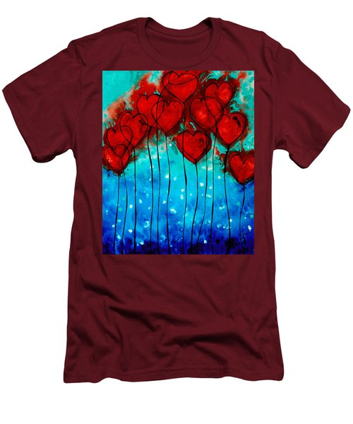 Men's T-Shirt (Athletic Fit) featuring the painting Hearts On Fire - Romantic Art By Sharon Cummings by Sharon Cummings