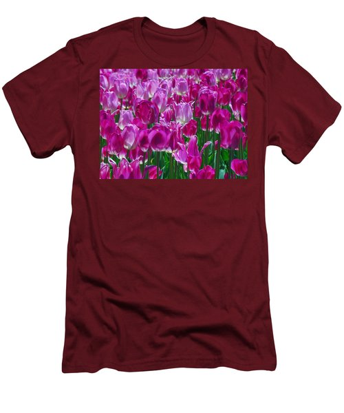 Hot Pink Tulips 3 Men's T-Shirt (Slim Fit) by Allen Beatty