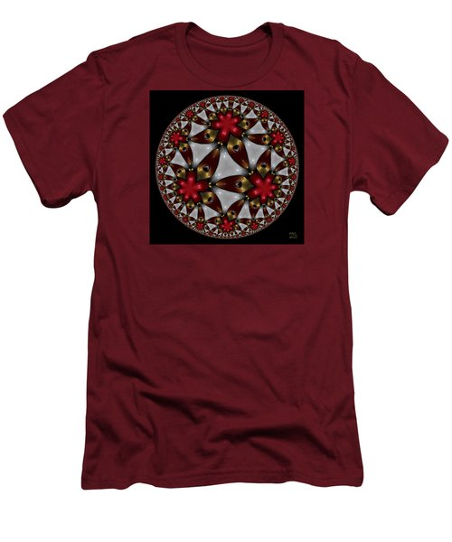 Men's T-Shirt (Slim Fit) featuring the digital art Hyper Jewel I - Hyperbolic Disk by Manny Lorenzo