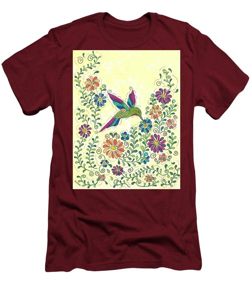 Men's T-Shirt (Slim Fit) featuring the painting In The Garden - Hummer by Susie WEBER