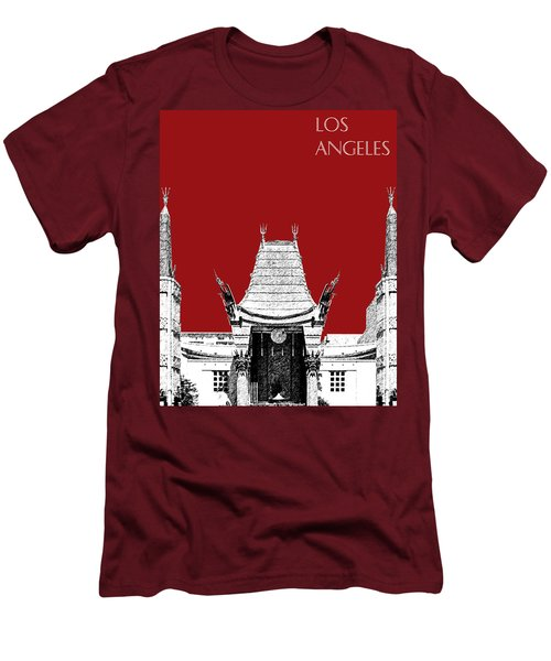 Los Angeles Skyline Graumans Chinese Theater - Dark Red Men's T-Shirt (Athletic Fit)
