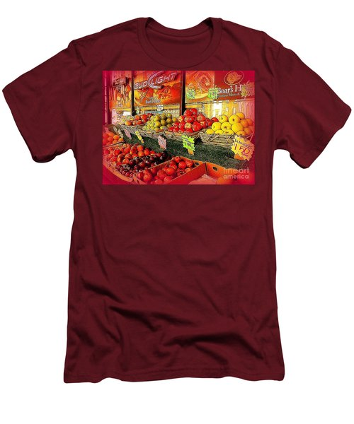 Apples And Plums In Red - Outdoor Markets Of New York City Men's T-Shirt (Slim Fit) by Miriam Danar