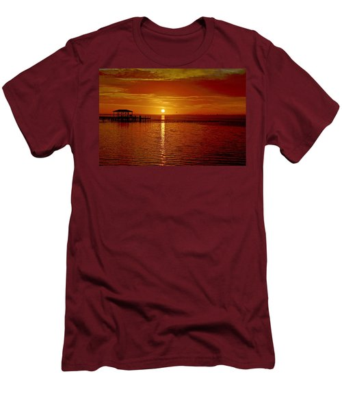 Mass Migration Of Birds With Colorful Clouds At Sunrise On Santa Rosa Sound Men's T-Shirt (Slim Fit) by Jeff at JSJ Photography