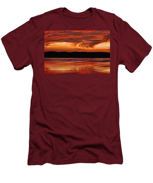 Men's T-Shirt (Slim Fit) featuring the photograph Mississippi River Sunset by Don Schwartz