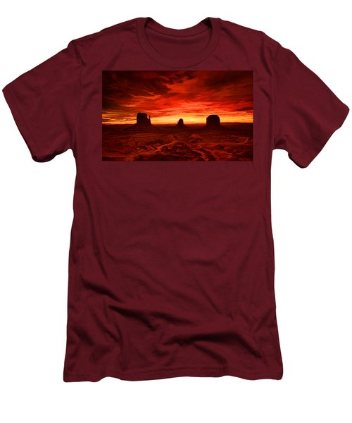 Men's T-Shirt (Slim Fit) featuring the painting Monument Valley Sunset by Tim Gilliland