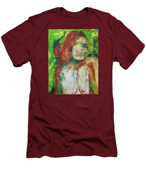 Men's T-Shirt (Slim Fit) featuring the painting Thinking Of You by Esther Newman-Cohen