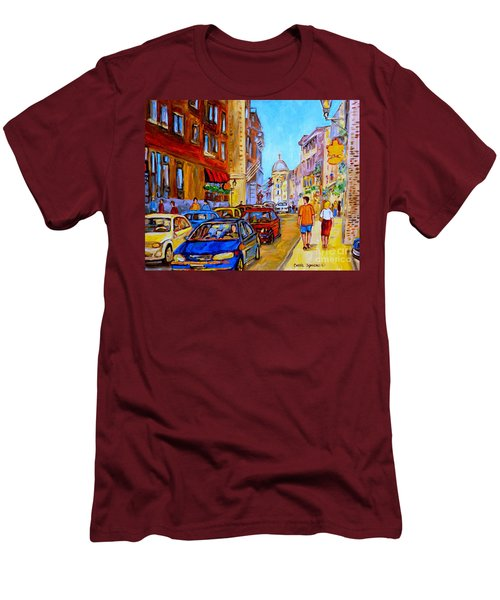 Men's T-Shirt (Slim Fit) featuring the painting Old Montreal by Carole Spandau