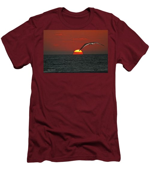 Men's T-Shirt (Slim Fit) featuring the photograph One Black Skimmers At Sunset by Tom Janca