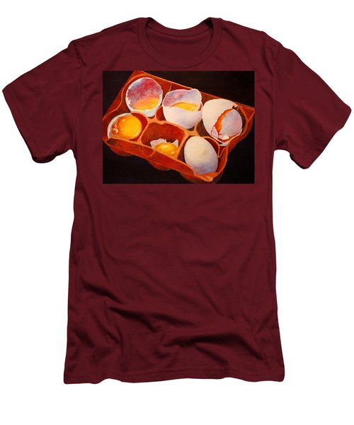 Men's T-Shirt (Slim Fit) featuring the painting One Good Egg by Roger Rockefeller