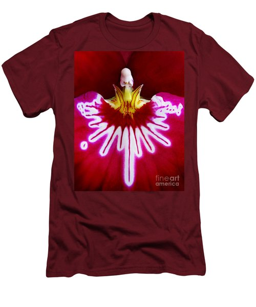 Men's T-Shirt (Slim Fit) featuring the photograph Orchid Harlequinn-pansy Orchid by Jennie Breeze