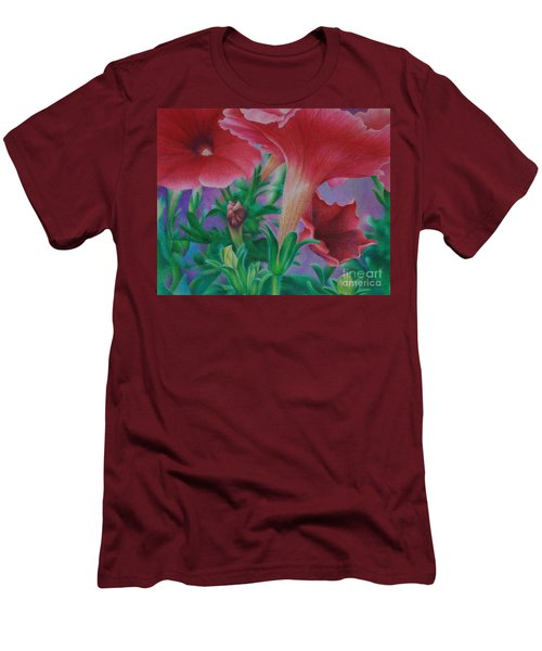 Men's T-Shirt (Slim Fit) featuring the painting Petunia Skies by Pamela Clements