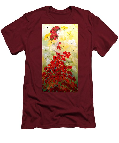 Poppies Lady Men's T-Shirt (Slim Fit) by Dorothy Maier