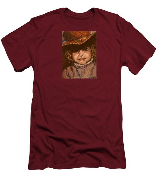 Men's T-Shirt (Slim Fit) featuring the painting Portrait Of Leticia by Walter Casaravilla