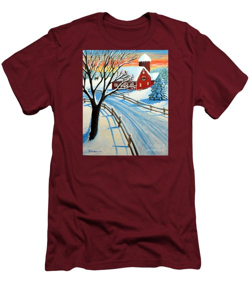 Red Barn In Winter Men's T-Shirt (Slim Fit) by Patricia L Davidson