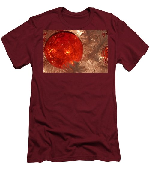 Men's T-Shirt (Slim Fit) featuring the photograph Red Christmas Ornament by Lynn Sprowl