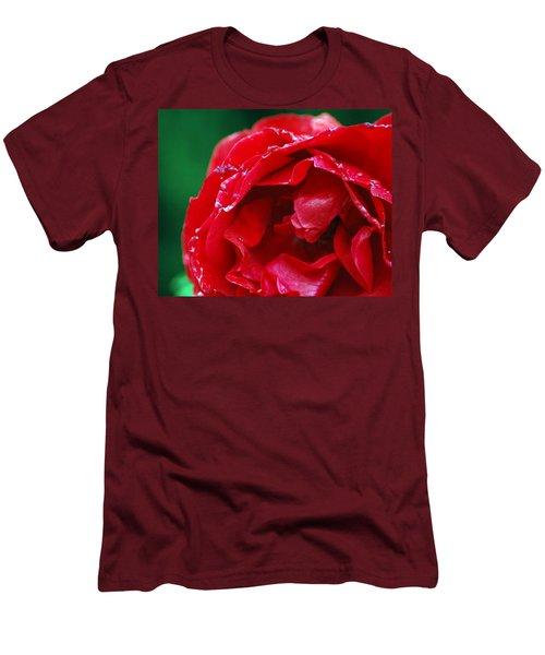 Red Flower Wet Men's T-Shirt (Slim Fit) by Matt Harang