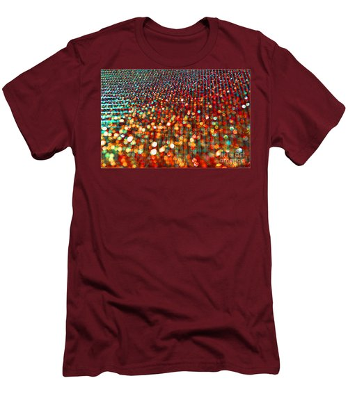 Red Hot Bokeh Bling Men's T-Shirt (Slim Fit) by Debbie Portwood