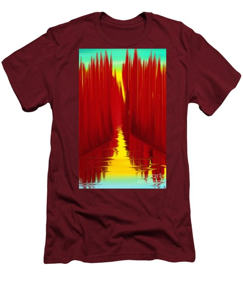Red Reed River Men's T-Shirt (Slim Fit) by Anita Lewis