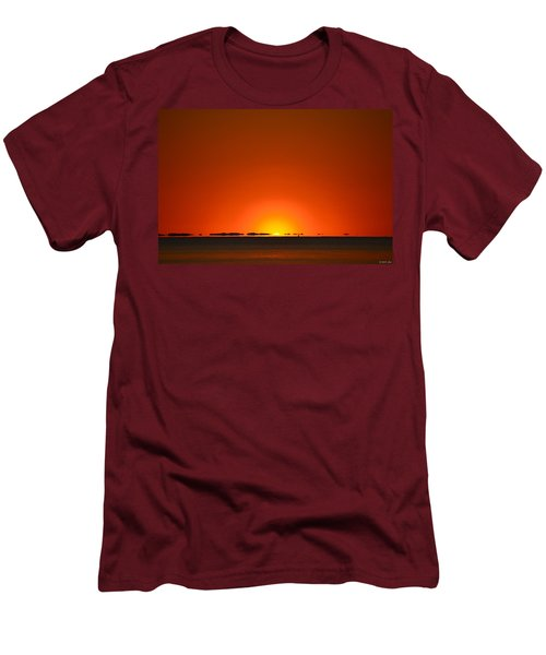 Red Sunset With Superior Mirage On Santa Rosa Sound Men's T-Shirt (Slim Fit) by Jeff at JSJ Photography