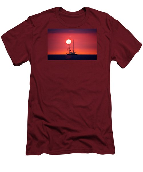 Sailboat Sunset Men's T-Shirt (Slim Fit) by Venetia Featherstone-Witty