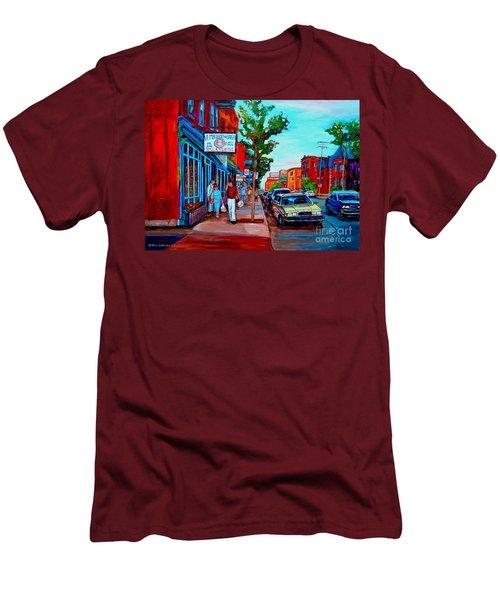 Saint Viateur Bagel Shop Men's T-Shirt (Slim Fit) by Carole Spandau