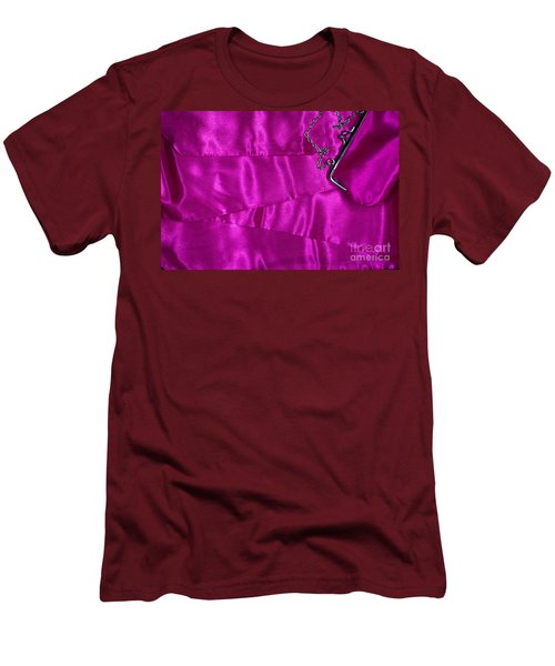 Men's T-Shirt (Slim Fit) featuring the photograph Silk Background With Purse by Gunter Nezhoda