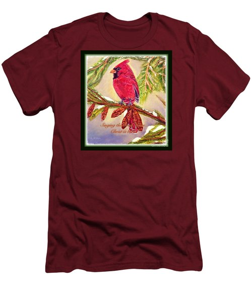 Men's T-Shirt (Slim Fit) featuring the painting Singing The Good News With A Christmas Message by Kimberlee Baxter